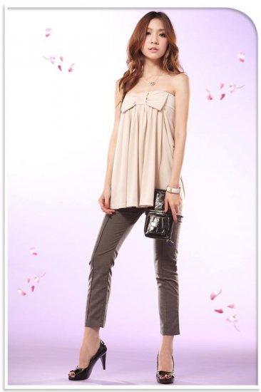 Romantic 2 Ways Wear Pockets + Ribbon Blouse - Beige