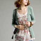 Natural Color Elastic Knitted Cotton Cardigan
