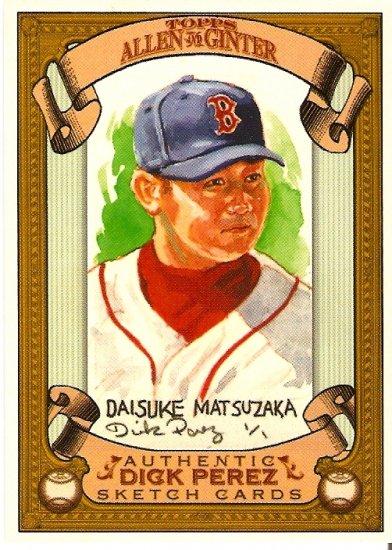 2007 Topps Allen & Ginter Daisuke Matsuzaka Dick Perez Sketch 4/30 Red Sox