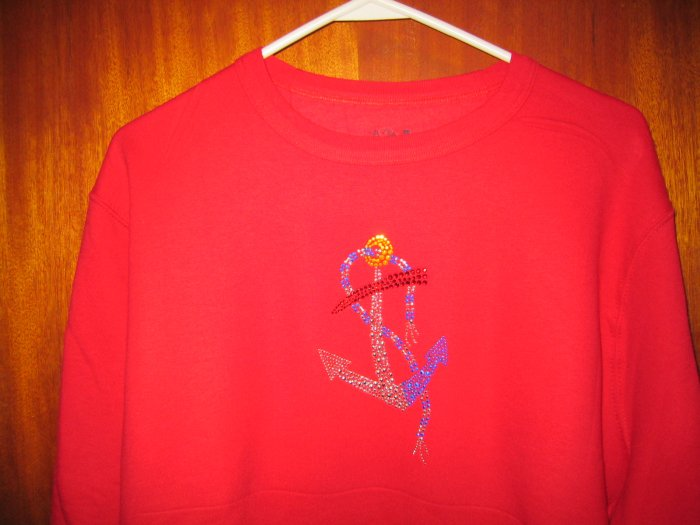 Nautical t shirts and sweatshirts with embroidery or crystal design