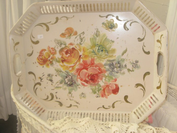 Fabulous Pink Vintage Tole Tray