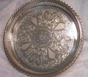Oneida Silver Butler Tray, Lavishly Decorated (Monogrammed)