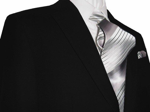 44S Mantoni 2-pc Men's Suit Solid Black Wool 2 Button Flat Front Pants Free Hem-up & Tie Size 44S