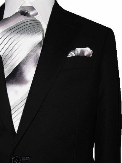 46R Mantoni 2-PC Men's Suit Solid Black Wool 2 Button Flat Front Pants Free Hem-up & Tie Size 46R