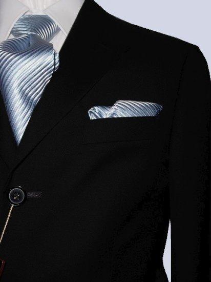 46L Mantoni 2-pc Men's Suit Solid Black Wool 3 Button Single Pleated Pants FREE Tie Size 46L