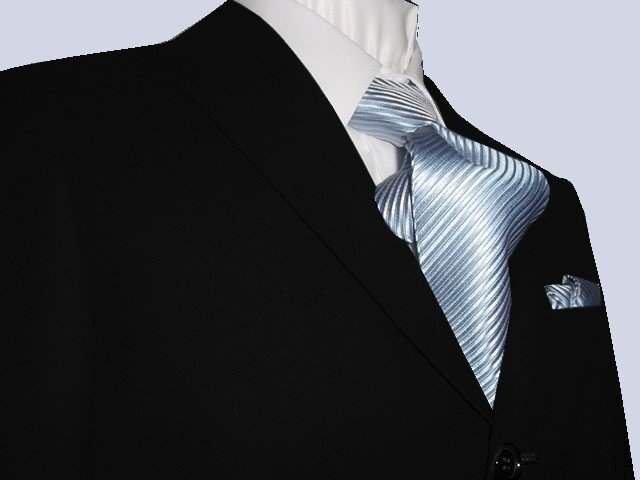 42L Mantoni 2-pc Men's Suit Solid Black Wool 3 Button Single Pleated Pants FREE Tie Size 42L