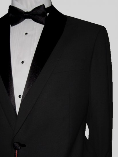 46R Marchatti 2-PC Men's TUXEDO Suit 1 Button Solid Black Flat Front Pants FREE Bow Tie Size 46R