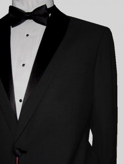 44L Marchatti 2-PC Men's TUXEDO Suit 1 Button Solid Black Flat Front Pants FREE Bow Tie Size 44L