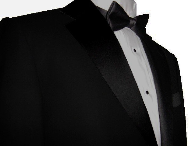 44L Marchatti 2-PC Men's TUXEDO Suit 2 Button Solid Black Flat Front Pants FREE Bow Tie Size 44L
