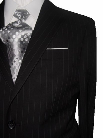 36S Fiorelli 2-Button Men's Suit Black with Gray Pinstripes with Flat Front Pants FREE Tie Size 36S