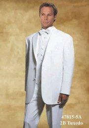 46R Giorgio Fiorelli 2-Button White Men's Tuxedo Suit Single Pleat Pants FREE White Bow Tie Size 46R