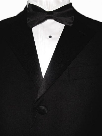 46R Giorgio Fiorelli 3-Button Black Men's Tuxedo Suit Single Pleat Pants FREE Black Bow Tie Size 46R