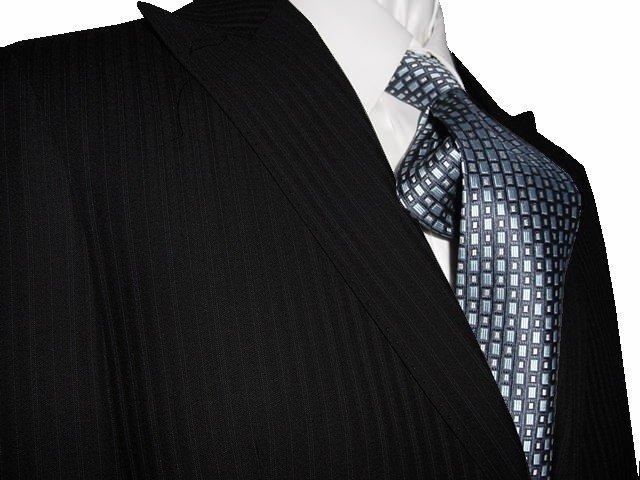 44L Vitarelli 2-Button Men's Suit Black with Multi Stripes FREE Neck Tie Size 44L