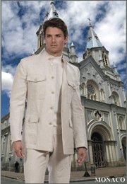 46L Mantoni 2-PC Men's Suit Natural Beige Linen 5 Button Monoco Style Single Pleat Pants Size 46L
