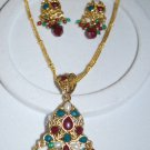 FANCY RUBY EMARALD POLKI PENDANT SET WITH FREE CHAIN