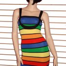 SO SEXY MULTI COLORED CLUBBING BANDAGE DRESS SIZE SMALL 2 - 4