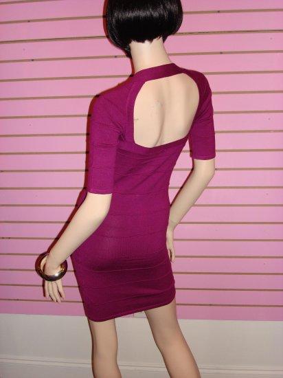 HOT MAGENTA ZIPPER FRONT BANDAGE DRESS Size M 6 - 8