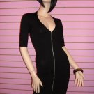 SEXY BLACK ZIPPER FRONT BANDAGE DRESS SIZE S 2 - 4