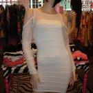 SEXY WHITE SHEER LONG SLEEVE BANDAGE DRESS SIZE M 6 - 8