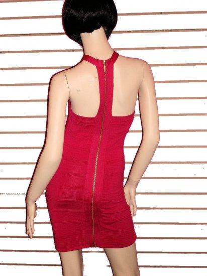 SO FABULOUS HOT PINK ZIPPER BACK BANDAGE DRESS SIZE M 6 - 8