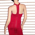 SO FABULOUS HOT PINK ZIPPER BACK BANDAGE DRESS SIZE M 6 - 8