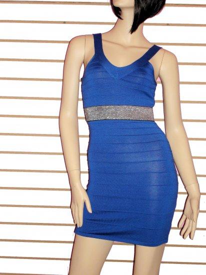SO FABULOUS BLUE WITH SILVER TRIM WAIST  BANDAGE DRESS SIZE LARGE 10-12