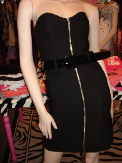 SO CLASSY BLACK ZIPPER FRONT TUBE DRESS SMALL 2- 4