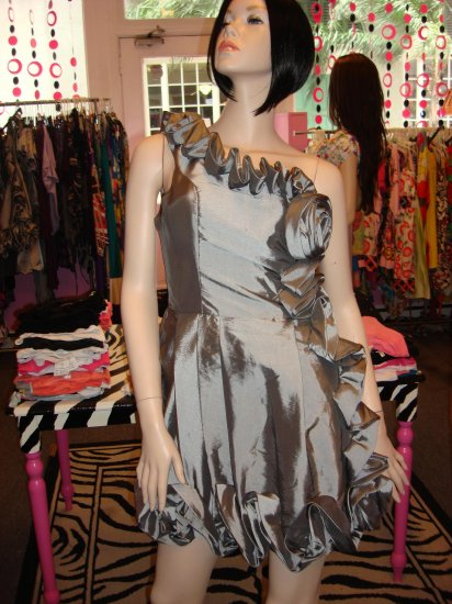 CUTE ONE SHOULDER GREY PARTY DRESS SIZE LARGE 10-12