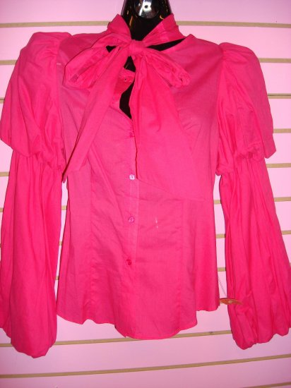 JAZZY PINK BUBBLE SLEEVE COTTON SHIRT SIZE SMALL 2 - 4
