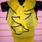 SEXY YELLOW AND BLACK SHEER RUFFLED TOP  MED 6 - 8