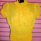 FLIRTY YELLOW CHIFFON TOP SIZE  SMALL 2 - 4