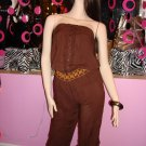 JAZZY BROWN  COTTON JUMPSUIT SIZE  MEDIUM 6 - 8