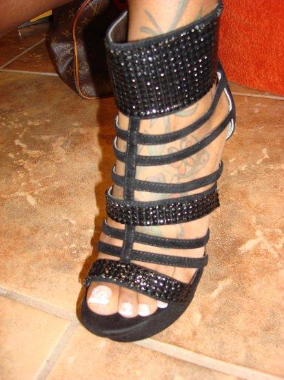 Black Suede Platform Heel with Metal Trim 7 1/2