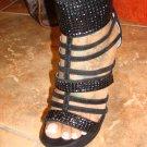 Black Suede Platform Heel with Metal Trim  8