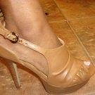 Open Toe Tan platform Heel Size  7