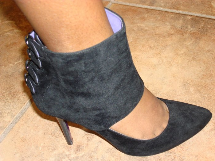 Hot Black Suede Pump Bootie size 8