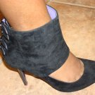 Hot Black Suede Pump Bootie size  9