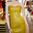 Sexy  Faux Leather Yellow Mini Clubbing Dress  S