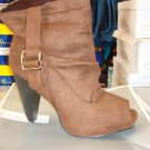 Brown Suede Open Toe Bootie 10