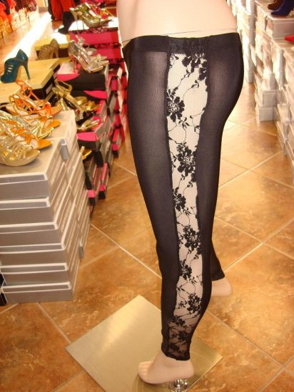 Sexy Black Legging with Side Lace Trim M