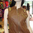 Brown  Sleeveless Studded Vest  L