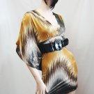 Brown Multi Kimono Sleeve Dress size Large