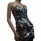 Stylish Black and Silver Tube Dress Large
