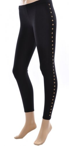 Black Leggings with Gold Studs Small