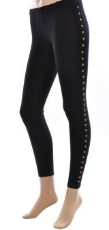 Black Leggings with Gold Side Studs Large