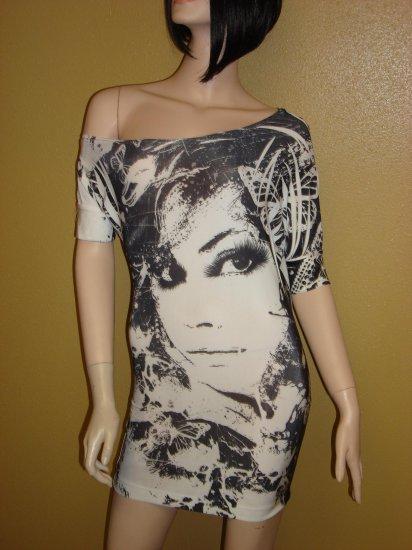 Black and White Face Print Mini Dress Size  Large