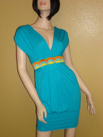 Clubbing Aqua Multi Sexy Dress Size  Medium