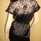 Black Satin and Lace Jumpsuit  Medium