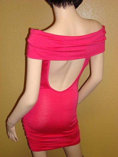 Hot Pink Off the Shoulder Mini Dress  Large