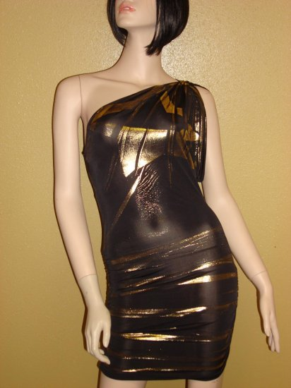Sexy Black and Gold One Shoulder Dress Large